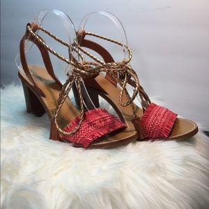 J. Crew Raffia Ankle-Tie Block Heel Sandals Shoes